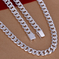 N011 MEN's jewelry 925 silver necklace men & Stamped 925 10M wide thick men curb necklace chain Square buckle colar 24/20INCH