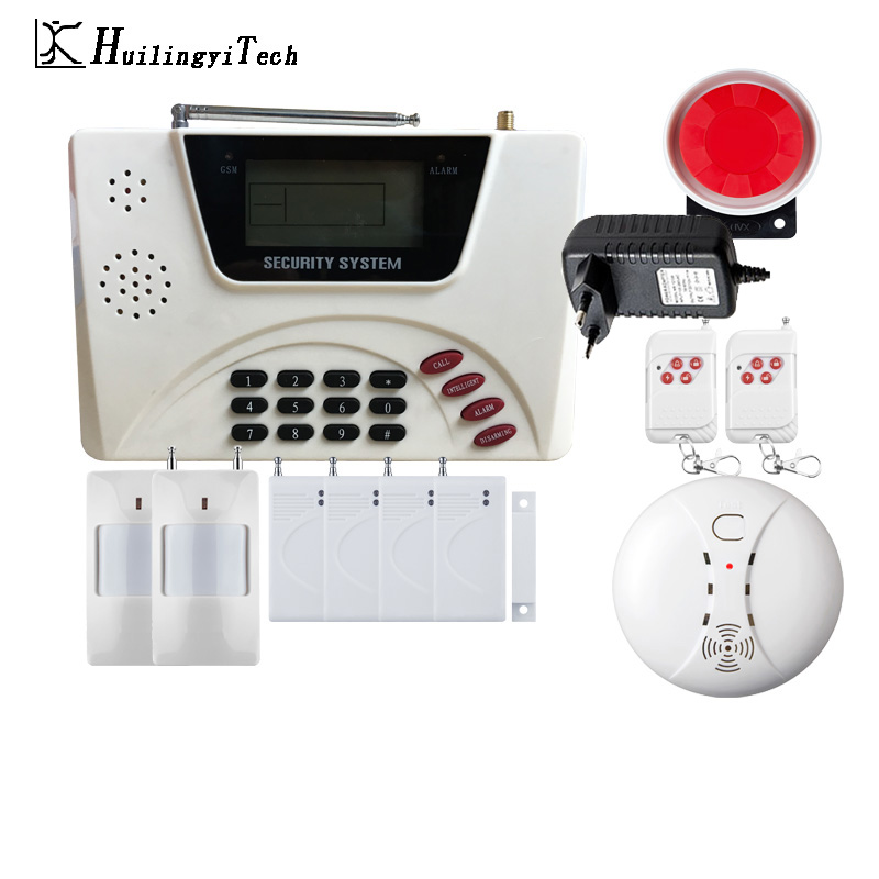 433MHZ Wireless GSM Alarm System Dual Antenna GSM Home Alarm Systems with PIR Detector Russian English Voice Security GSM Alarm цена