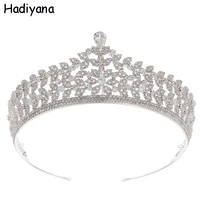 Hadiyana Elegant Leaf Cubic Zircon Crown Women'S Jewelry Copper Tiara For Girls Silver Color Wedding Hair Accessories HG6092