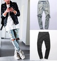 Fashion autumn stretch ripped designer brand jeans hip hop slim fit men broken demin destroy jeans blue and black swag PANTS