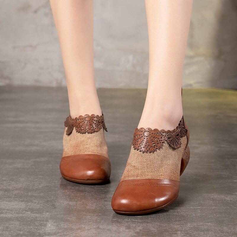 2019 VALLU automne cuir chaussures femmes pompes couleurs mélangées bout rond dos Zipper dames chaussures à talons hauts