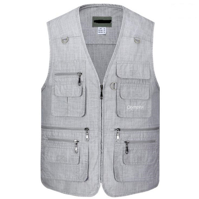2018 XL-5XL Male Casual Vests Men Work Vest Mens Multi Pocket Photographers Sleeveless Jacket Plus Size Summer Autumn Thin Vests