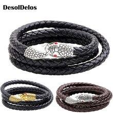 Hot sale Infinity snake Bracelet Bangle Genuine Leather Hand Chain Buckle friendship men women bracelet  jewelry gifts