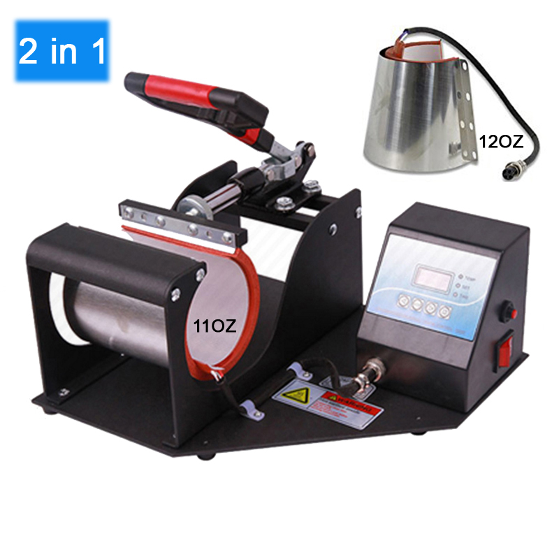 цены 2 in 1 Mug Press Machine Sublimation Printer Heat Press Machine Heat Transfer Mug Printer 11oz/12oz Cup Mug Printing Machine