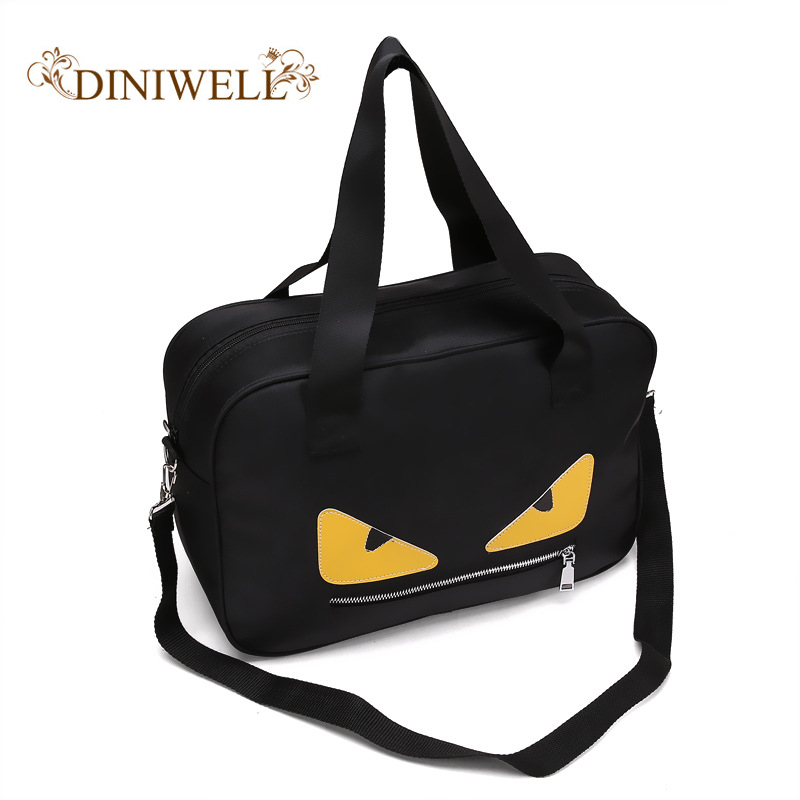DINIWELL Little Monsters Female Travel Bags Male Nylon Waterproof Large Capacity Bags Travel Bags Weekend Overnight Travel Bags