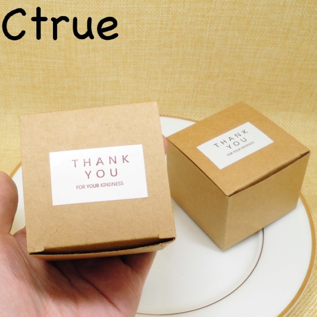 12PC Kraft Paper Candy Box Hemp Rope Thank You Gift Tags Vintage Rustic Wedding