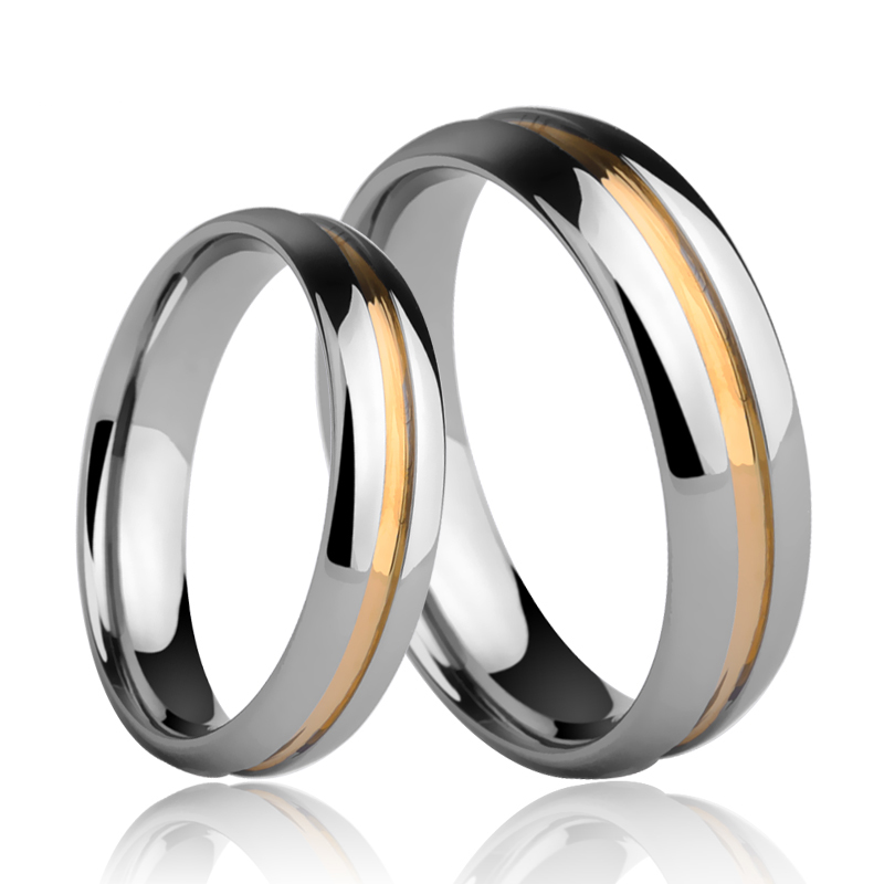 Hot Selling Classic Men's Jewelry Couple Rings 4mm/6mm Width Dome Band Gold Plating and Grooving the Surface Size 4-13 цена