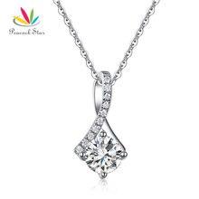 Estrella Elegante del pavo real Colgante Collar Esterlina del Sólido 925 de Plata Joyería Nupcial de La Boda de dama de Honor CFN8060