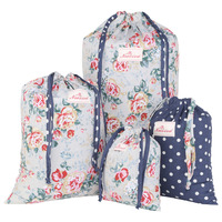 Neoviva Lightweight Cotton Drawstring Storage Bags For Clothing Set Of 4 In Different Sizes And Patterns