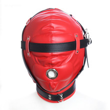 Couple sex SM restraint toy headdress blindfolded mouth BDSM sexy leather mask male adult game