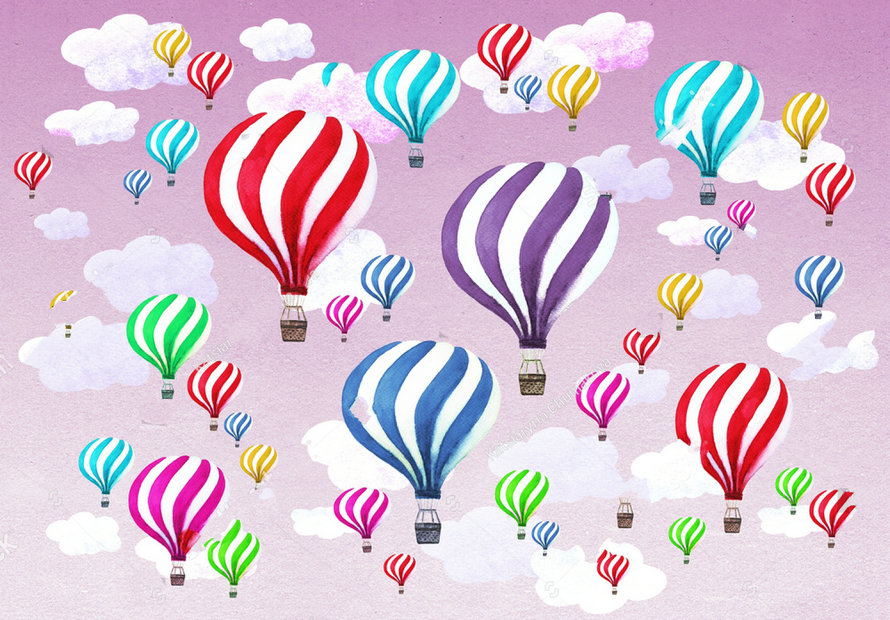 hot air balloon clouds purple sky Watercolor backdrops polyester or Vinyl cloth High quality Computer print wall Background