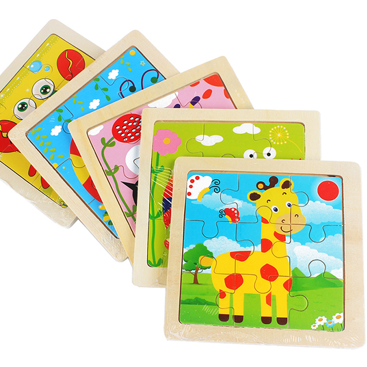 Mini Size 11*11CM Kids Toy Wood Puzzle 3D Baby Cartoon Animal/Traffic Wooden Puzzles Jigsaw Educational Toys For Children