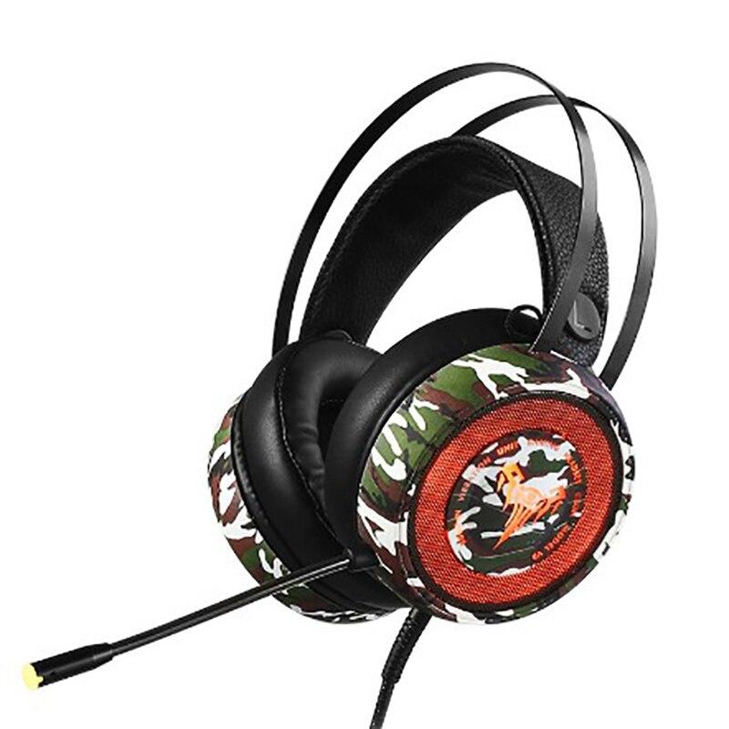 Casque de jeu classique couleur camouflage contrôle de ligne e-sport graphène corne 3D stéréo surround son suppression de bruit HD voic