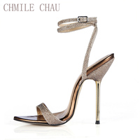 CHMILE CHAU Sexy Party Shoes Women Stiletto High Metal Heels Ankle Strap Ladies Sandal Plus Sizes 10.5 Zapatos Mujer 3845 i8