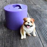 3D Sitting Dog Silicone Mold Mould Chocolate Cake Baking mold Bulldog Cake Fondant Tool Handmade soap plaster mould SQ18106