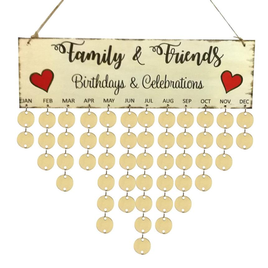 Wood Birthday Reminder Board Birch Ply Plaque Sign Family &Friends ...