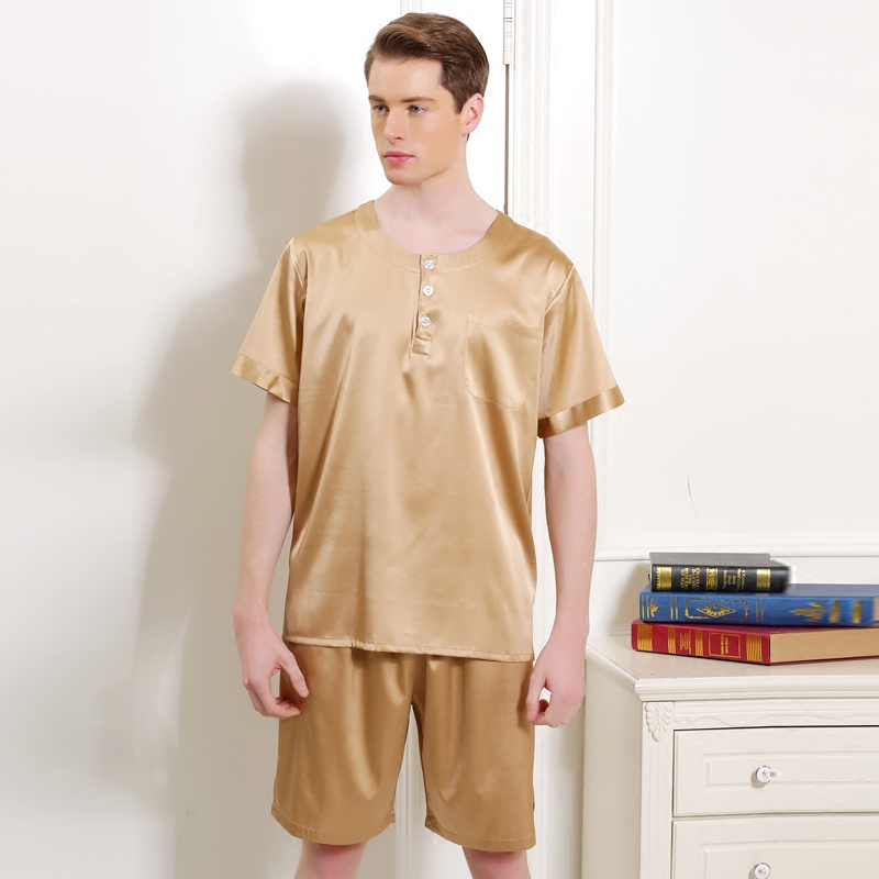 17005-YIER-Brand-Summer-Heavy-Silk-Sleepwear-Men-s-Pajamas-Male-Short-Sleeve-Shorts-Sets-100
