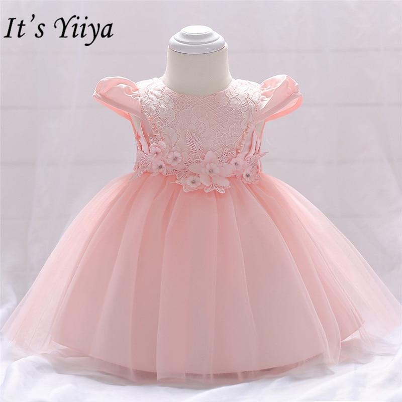 It's yiiya Sweet Pink Appliques Little   Flower     Girl     Dresses   O-neck Tea-length   Girl     Dress   MA064