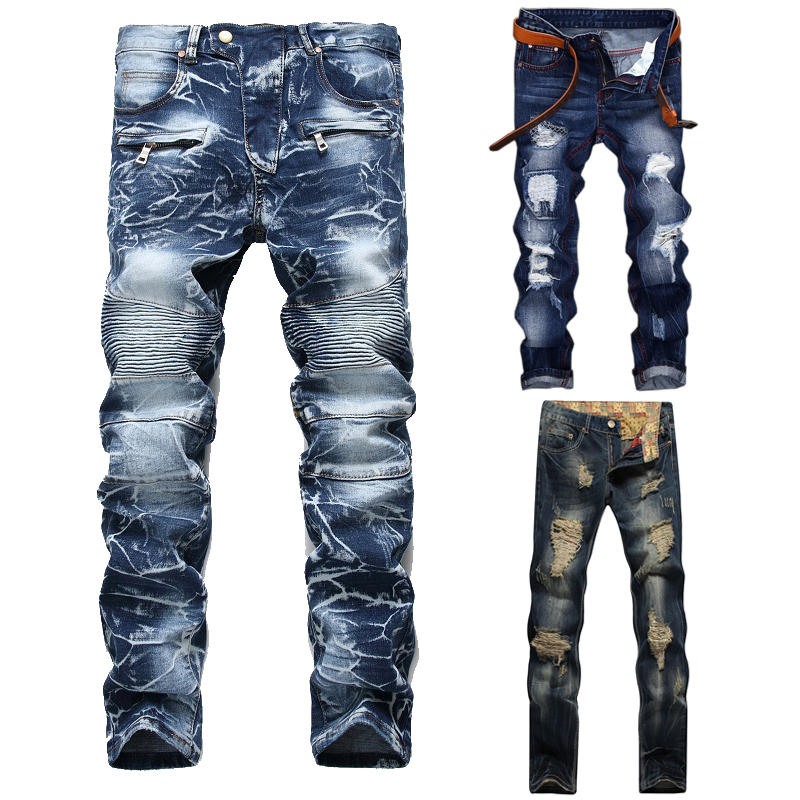 High Quality Men Casual Ripped Jeans Washed Straight Slim Pleated Motorcycle Biker Jeans Pants Male Denim Trousers Plus Size 42