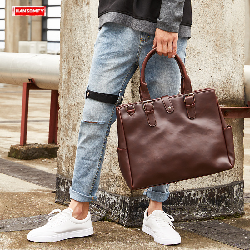 New Business Men's Briefcase Casual Slung Large Capacity Handbag Male Trend Shoulder Messenger Bag 14 Inch Laptop Briefcases