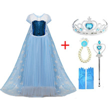 2019 New Elsa Dress Girls Summer Dress Princess Anna Cosplay Costume Dresses For Girl Princess Vestidos Menina baby girls dress christmas anna elsa cosplay costume summer dresses girl princess elsa dress for birthday party vestidos menina