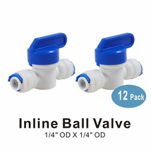 """1/4"""" x 1/4"""" OD Equal Inline/On Off Ball Valve Quick Connector Fitting for Water Filters and RO Reverse Osmosis Systems -12 PACK"""