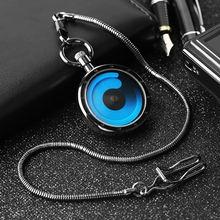 Стимпанк крутой вихревой кварцевый ожерелье карманные часы черный