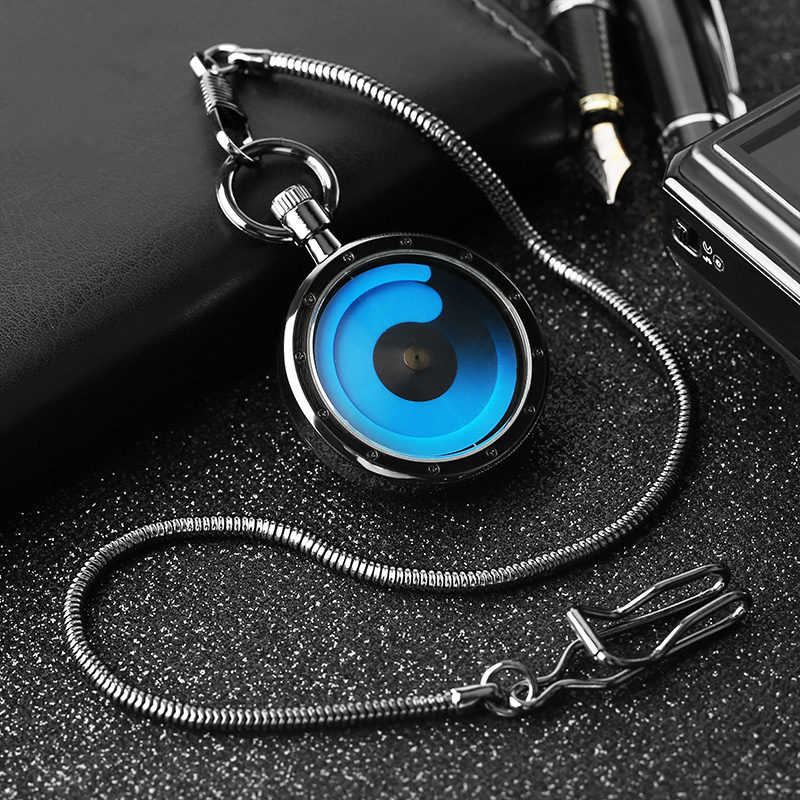 Steampunk Cool Swirl Quartz Necklace Pocket Watch Black Case Open Face Pendant Men Women Creative Retro Clock Gifts