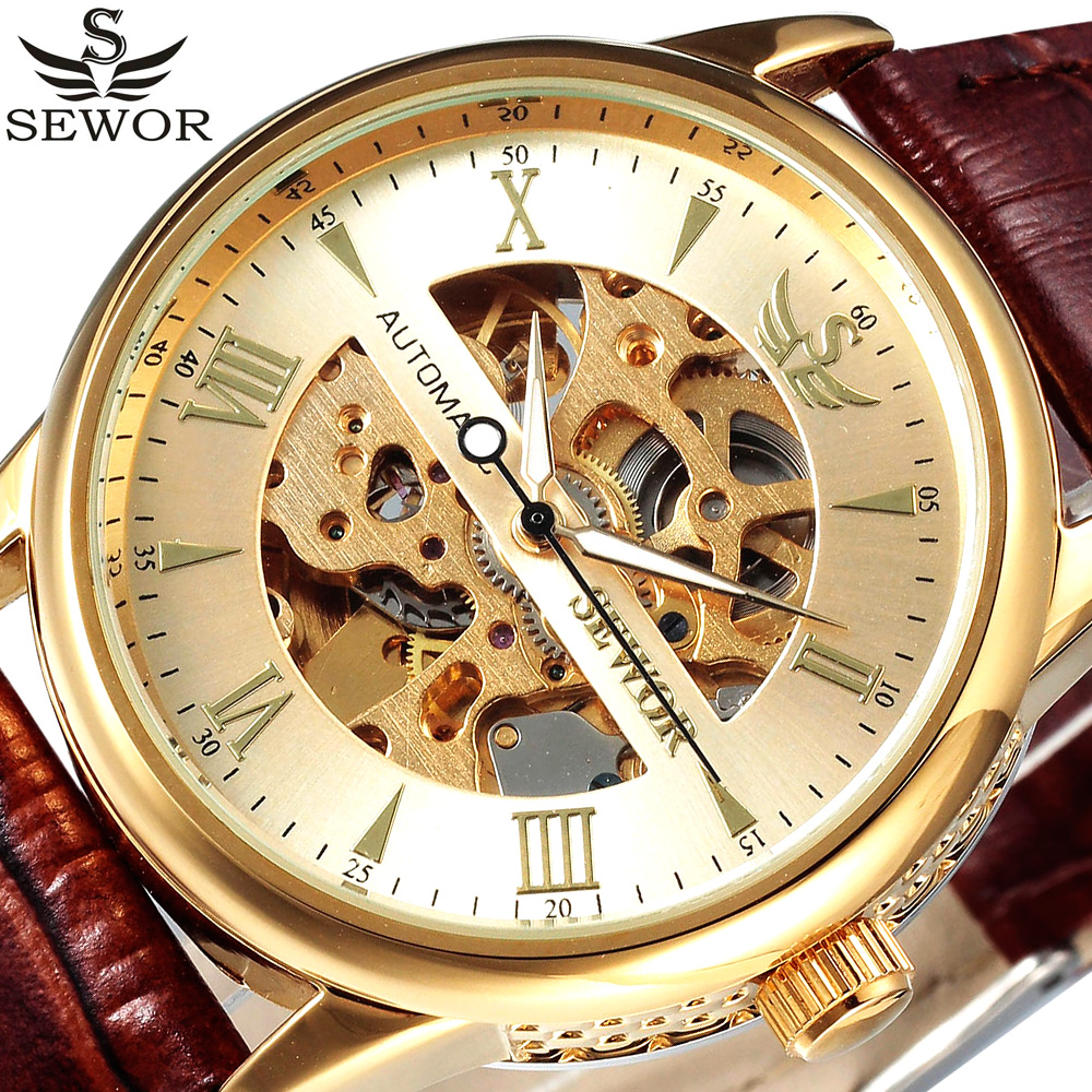 SEWOR Gold Skeleton Mechanical Watch Men Leather Strap Clock Male Luxury Automatic Self Wind Wrist Watch Relogio Masculino orkina clock men leather skeleton watch classic retro golden case relogio male masculino mechanical automatic watch