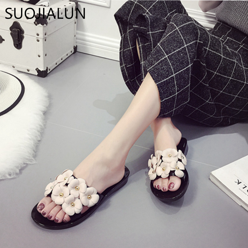 SUOJIALUN Women Slippers 2018 New Fashion Flower Flat Beach Slippers Sandals Shoes For Ladies Women Flip Flops Jelly Shoes 2016 new color crystal jelly women sandals female women flip flops women slippers beach sandals