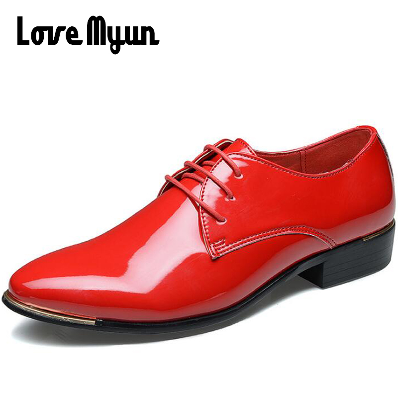 New arrive mens patent leather shoes men dress shoes lace up Pointed toe wedding Business party 5 colors big size 38-48 AA-01 2017 men s cow leather shoes patent leather dress office wedding party shoes basic style pointed toe lace up eu38 44 size