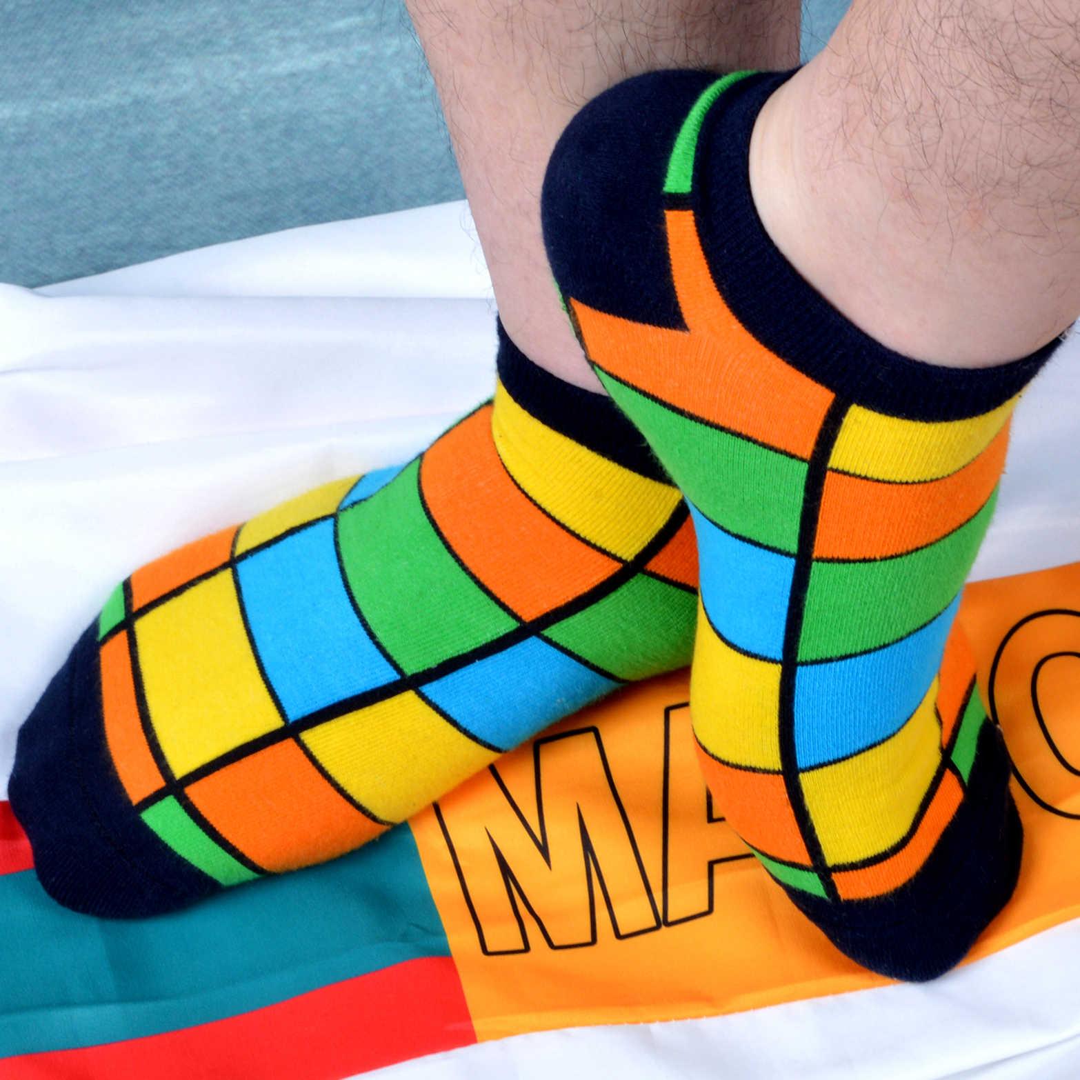 SANZETTI/12 пар в партии, мужские летние хлопковые носки с принтом счастливого чесаного цвета, повседневные носки в клетку в полоску в горошек, забавные Разноцветные носки в подарок