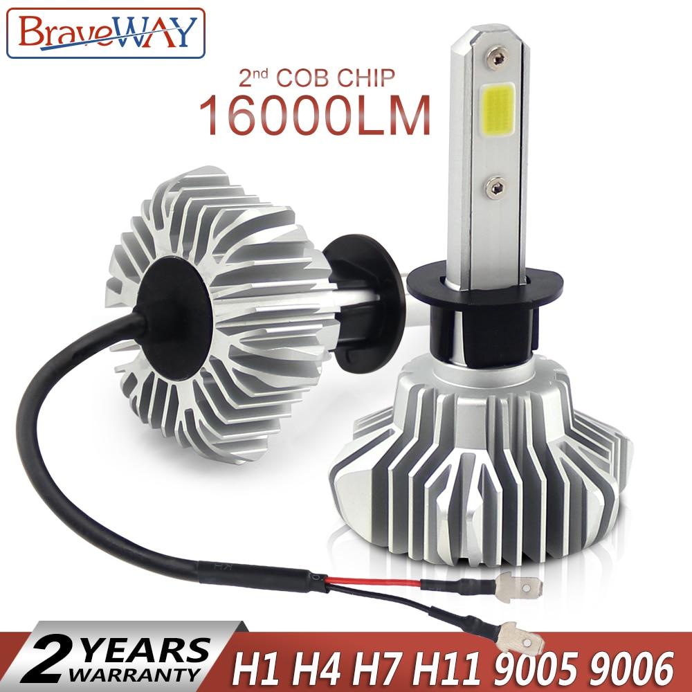BraveWay 2nd COB LED Light Bulbs for Car Led Headlight Fog Light Led H7 H11 HB3/9005 BH4/9006 H4 H1 LED 16000LM 80W 12V Lamp H1 2016 hot sale new 2pc 3030 80w car high power led fog light h7 80w cree chips lamp very nice vicky