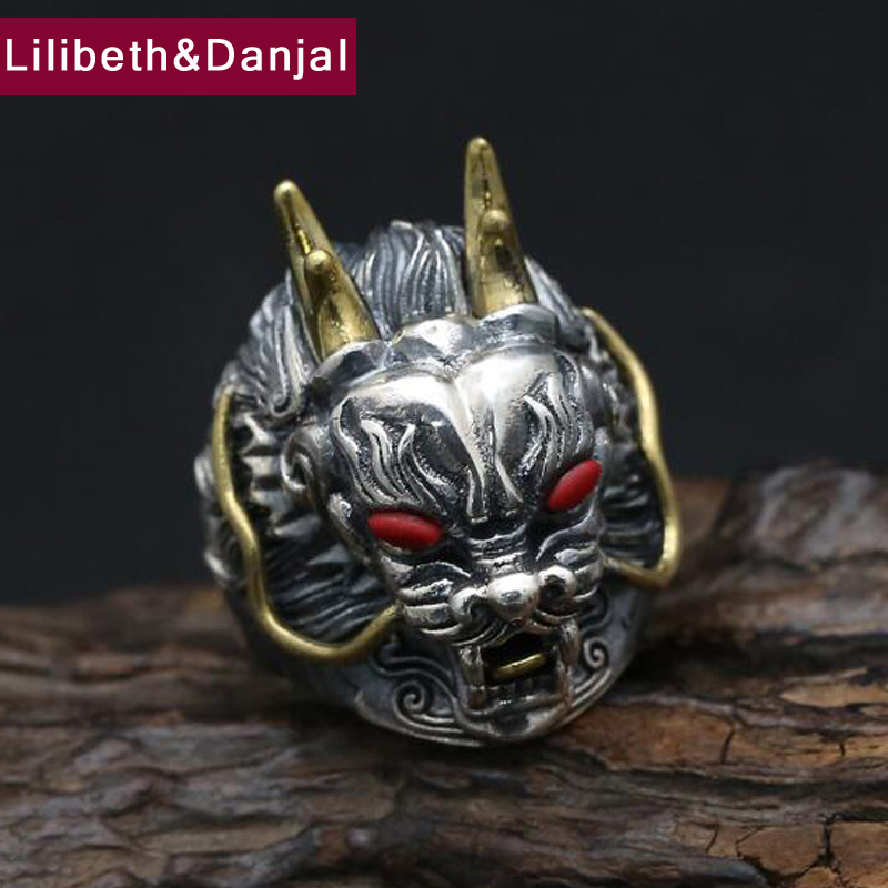 2017 925 Sterling Silver Ring Men Jewelry Dragon Lucky Natural stone engagement Ring Adj ...