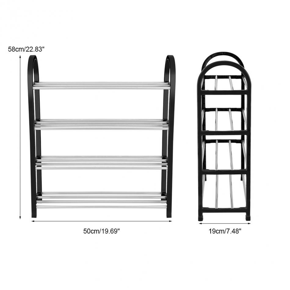 Up To 4 Tiers Aluminum + Plastic Shoe Rack 8