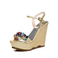 2018 Summer Womens Black Buckle Sandals Fashion Elegant Silver Rhinestone Shoes Wedding Bridal High Heel Platform Wedges 12cm
