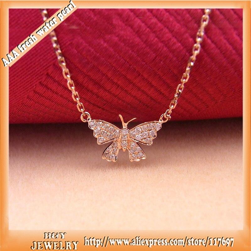100% real 18 k gold Vlinder ontwerp hanger ketting set vs2 Diamant nieuwe Koreaanse stijl hot verkopen