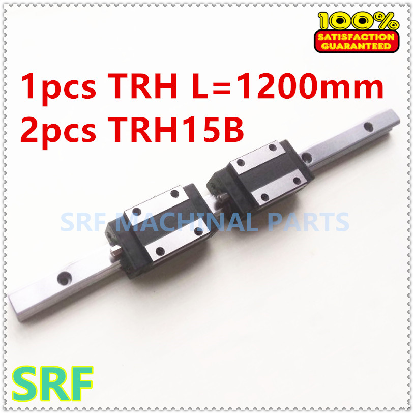 1pcs 15mm width 1200mm TRH15  Linear Guide  Rail  + 2pcs TRH15B Block Carriage Linear motion guide way  CNC high quality 15mm precision linear guide rail 1pcs trh15 l 1400mm 2pcs trh15b square linear block for cnc