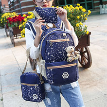 2019 New 3Pcs/set Fashion Women Girls Large Capacity Canvas Rucksack Backpack Preppy Style Teenage School Bags Cute Bear Decor