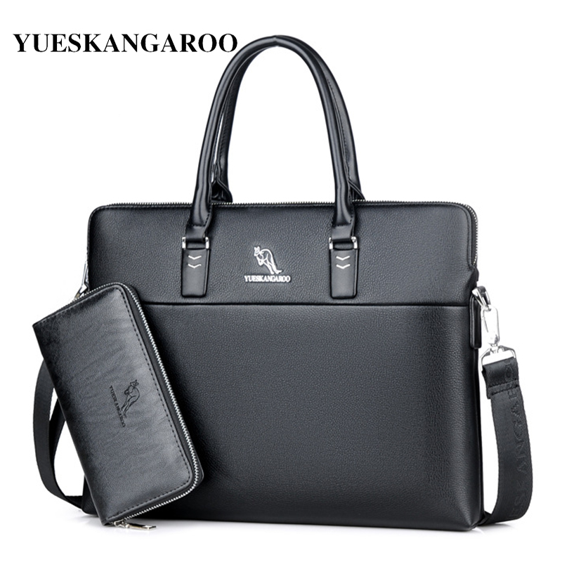 YUES KANGAROO Leather Men Fashion Briefcase Shoulder Bags Brand High Quality Men's Business Handbags Men Travel Laptop Bag new brand business briefcase handbags shoulder bag leather men crossbody bags for men casual high quality messenger travel bags