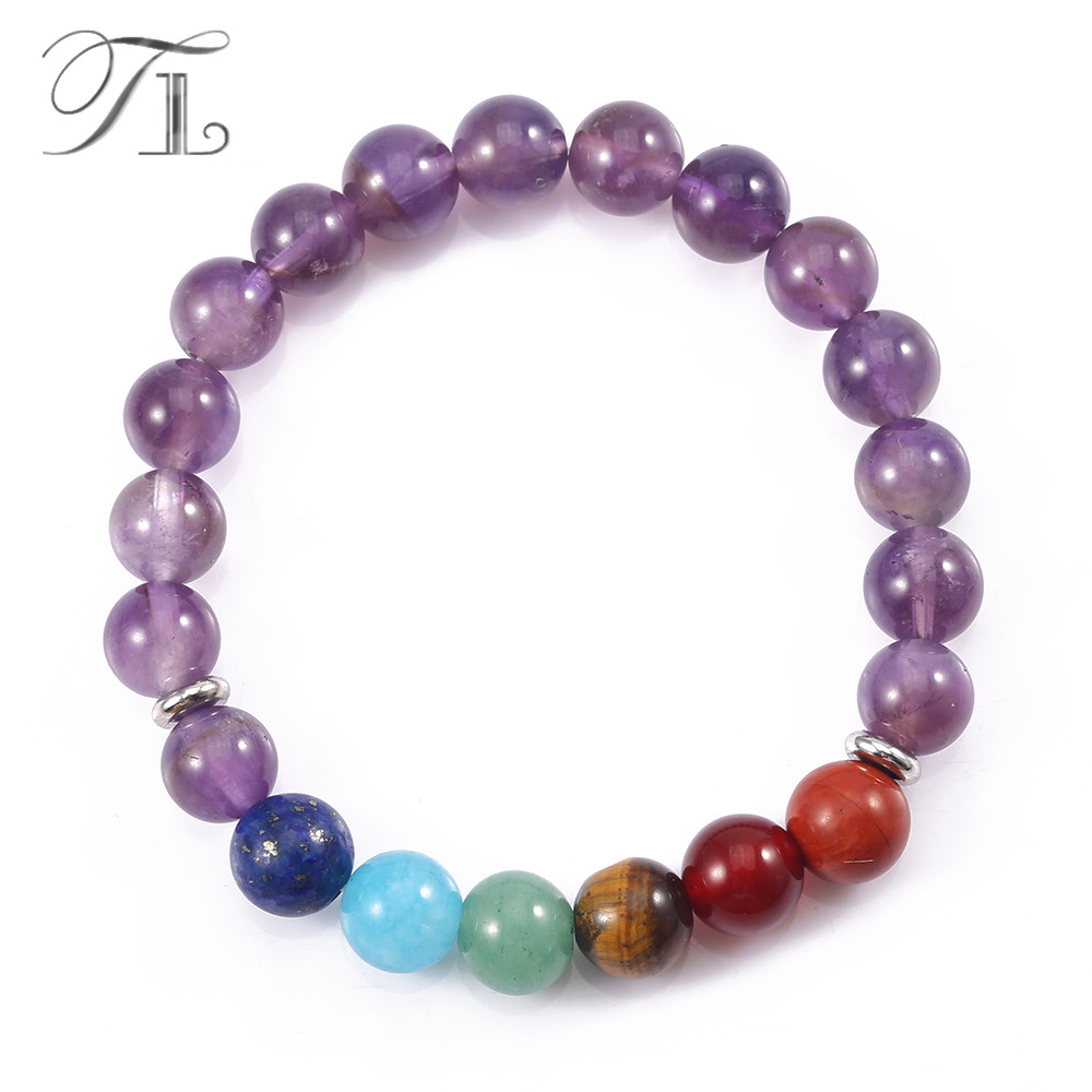 TL Purple Crystal Rainbow 7 Chakra Yoga Bracelets 8mm Natural Healing Bracelets Pure Crystal Mala Beads Fashion Design Bracelets