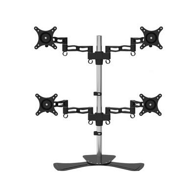 Aluminum Alloy Desktop Stand 4 Screen Monitor Holder Full Motion TV Mount Bracket D08S-2 high quality laptop stand holder for notebook two type glass corner monitor mount computer small tv screen display riser stand