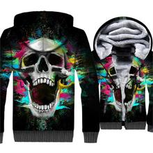 Crazy Skull Printed Hop 3D Hoodies Men Hot Sale 2019 Winter Warm Jacket Thick Fleece Mens Sweatshirts Punk Streetwear M-5XL