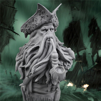 Resin Pirates of the Caribbean Captain Dave Jones octopus statue bust rustic home decor nautical home decor craft supplies