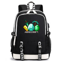 Games Minecraft Hot Backpack USB Headphone Jack Boys Girls School bag Women Teenagers Canvas Men Laptop Backpack Packsack