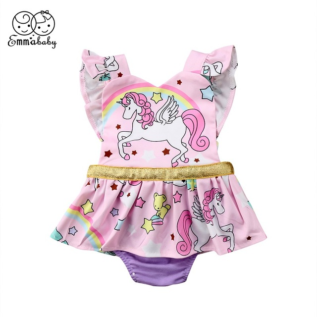 4b7421253432 Emmababy Cute Baby Cartoon Print Clothes Newborn Baby Girls Unicorn  Sleeveless Ruffled Romper Tutu Jumpsuit Playsuit Outfits