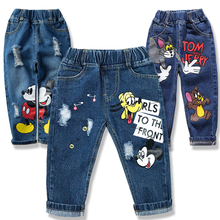 Gorąca sprzedaż letnie spodnie kreskówkowe spodnie dla dzieci zepsuty otwór moda dziewczynek dżinsy dzieci chłopców dżinsy spodnie dla dzieci 1-6Y tanie tanio bibihou COTTON Cartoon kids pants REGULAR Pełnej długości Elastyczny pas Harem spodnie PATTERN HOLE Pasuje prawda na wymiar weź swój normalny rozmiar
