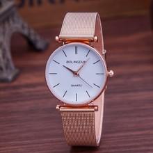 Marca de Lujo Reloj de Las Mujeres de Moda Relojes de Cuarzo de Oro Rosa Casual de Malla de Metal de Acero Inoxidable Vestido de Relojes de Pulsera Reloj de la Venta Caliente