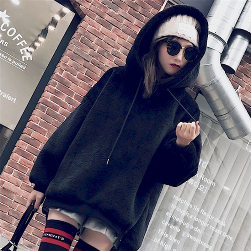 Autumn and Winter 2018 Women Hooded Velvet Thick Loose Faux Fur Coat Jacket Warm High Quality Hoodies