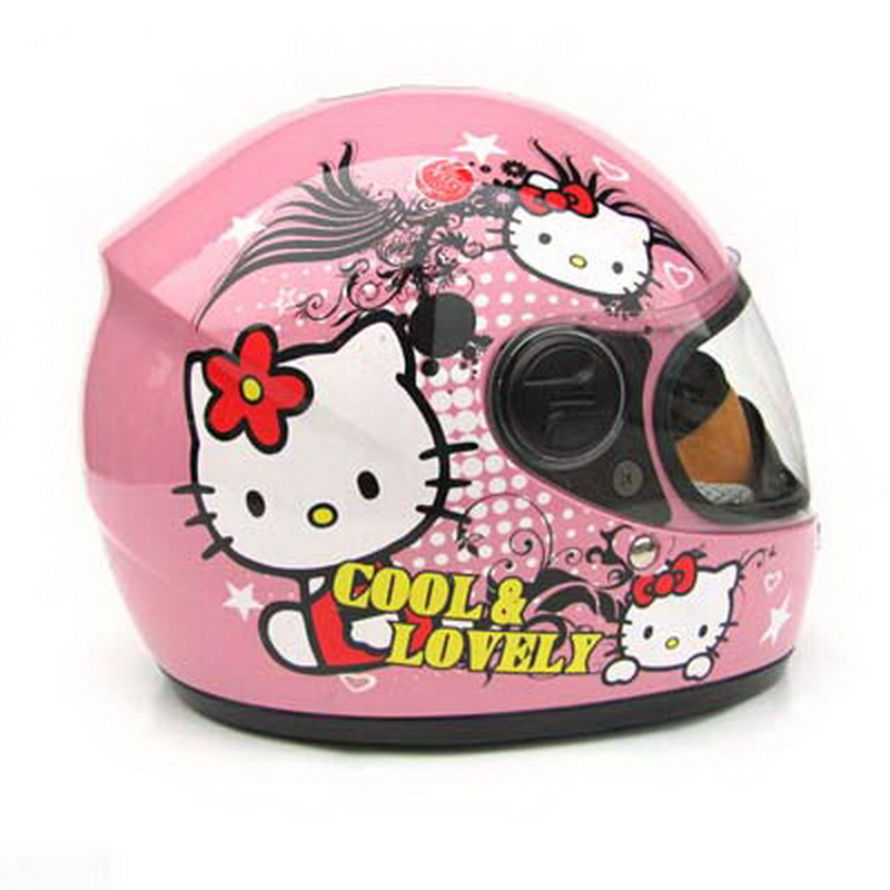 2017 Fashion Pink cat children full face motorcycle helmet MOTO electric bicycle safety headpiece child kids